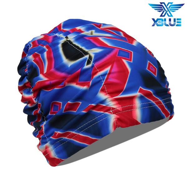 XBL-0200-9 엑스블루 아쿠아 주름나염 수모 수영모
