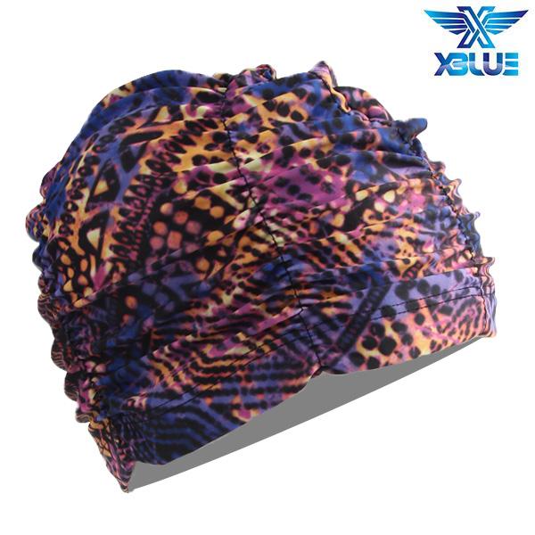 XBL-7301-29 엑스블루 아쿠아 주름나염 수모 수영모