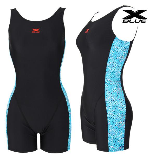 XWU-7102 BKBL 엑스블루 여성 사각 3부 수영복-브라캡증정